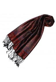 Schal 100% Seide Paisley rot dunkelrot rostbraun LORENZO CANA