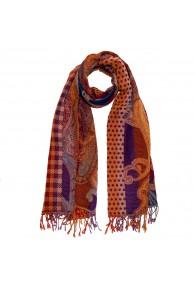 100% Wolle Schaltuch Paisley braun purpur LORENZO CANA