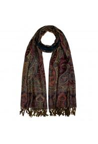 100% Wolle Schaltuch Paisley braun dunkelrot LORENZO CANA