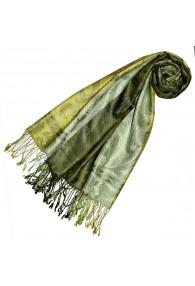 Pashmina 100% Seide Paisley grün grasgrün hellgrün LORENZO CANA