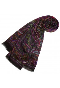 XL Damentuch Wolle Seide Azteken violett rot braun LORENZO CANA