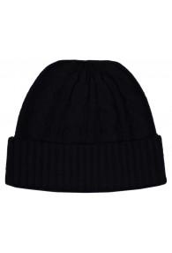 Mütze 100% Kaschmir Zopfmuster schwarz anthrazit