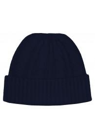 Mütze 100% Kaschmir Zopf dunkelblau stahlblau LORENZO CANA