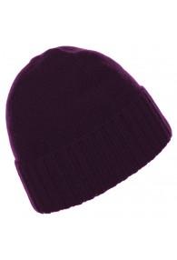 Mütze 100% Kaschmir Umschlag Violett LORENZO CANA