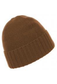 Mütze 100% Kaschmir Umschlag Cappuccino Braun LORENZO CANA