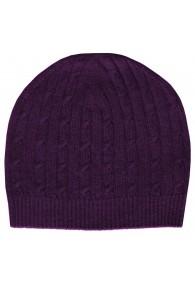 Mütze Kaschmir Zopfmuster Violett LORENZO CANA