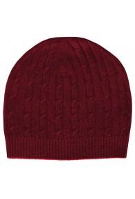 Mütze Kaschmir Zopfmuster Rot LORENZO CANA