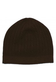 Mütze 100% Kaschmir Zopf rotbraun dunkelbraun LORENZO CANA