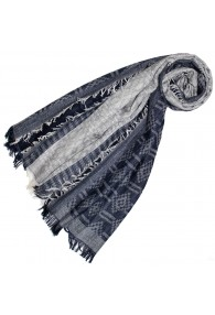 Schal für Frauen Grau Dunkelblau Baumwolle LORENZO CANA