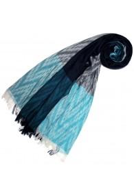 Schal für Frauen Türkis Dunkelblau Grau Baumwolle LORENZO CANA