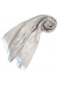 Schal für Frauen Beige Braun Hellblau Baumwolle LORENZO CANA