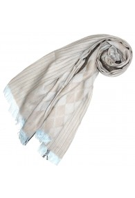 Schal für Männer Beige Braun Hellblau Baumwolle LORENZO CANA