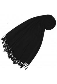 Kaschmir + Wolle Damenschal schwarz einfarbig LORENZO CANA