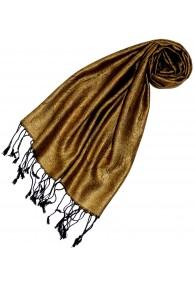 Schal 100% Seide Paisley Gold Schwarz LORENZO CANA
