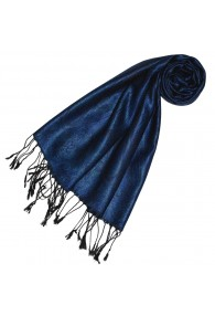 Schal 100% Seide Paisley Royalblau Schwarz LORENZO CANA