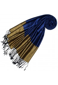 Seide + Viskose Männer Schal Blau Gold LORENZO CANA