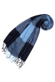 Kaschmir + Wolle Damenschal blau hellblau LORENZO CANA