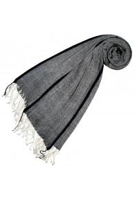 Kaschmir + Wolle Damenschal grau schwarz LORENZO CANA