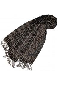 Baumwolle + Wolle Halstuch grau beige schwarz LORENZO CANA