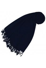 Kaschmir + Wolle Damenschal dunkelblau einfarbig LORENZO CANA