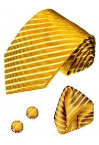Krawattenset 100% Seide Streifen gold shellgelb orange LORENZO CANA