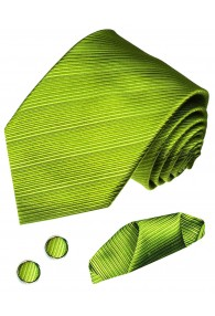 Krawattenset 100% Seide Streifen grün hellgrün lindgrün LORENZO CANA