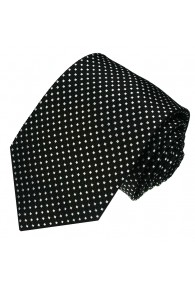 Krawatte 100% Seide Punkte schwarz weiss LORENZO CANA