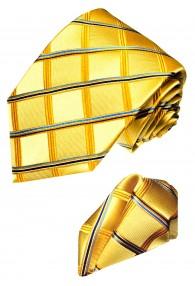 Krawattenset 100% Seide Karo gold gelb blau LORENZO CANA