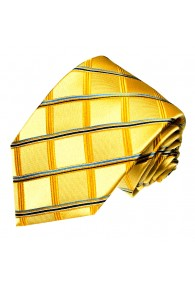 Krawatte 100% Seide Karo gold gelb blau LORENZO CANA