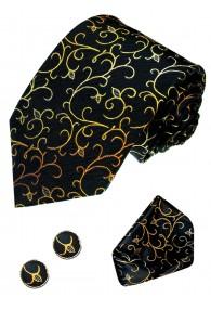 Krawattenset 100% Seide Floral schwarz gelb grün LORENZO CANA