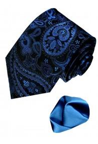 Krawattenset 100% Seide Paisley dunkelblau schwarz LORENZO CANA