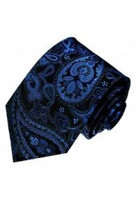 Krawatte 100% Seide Paisley dunkelblau schwarz LORENZO CANA