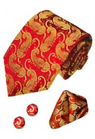 Krawattenset 100% Seide Paisley rot orangerot gold LORENZO CANA