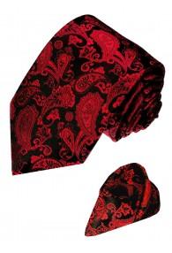 Krawattenset 100% Seide Paisley dunkelrot schwarz LORENZO CANA
