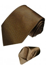 Krawattenset 100% Karo braun bronze LORENZO CANA