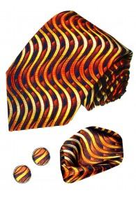 Krawattenset 100% Seide Wellen orange gold schwarz LORENZO CANA