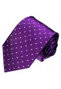 XL Herrenkrawatte 100% Seide Punkte violett weiss LORENZO CANA