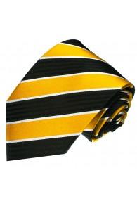 Krawatte 100% Seide Streifen gelb schwarz weiss LORENZO CANA
