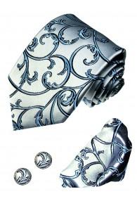 Krawattenset 100% Seide Floral silberblau hellblau LORENZO CANA