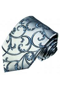XL Herrenkrawatte 100% Seide Floral silberblau hellblau LORENZO CANA