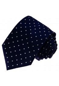 Krawatte 100% Seide Punkte schwarzblau weiss LORENZO CANA