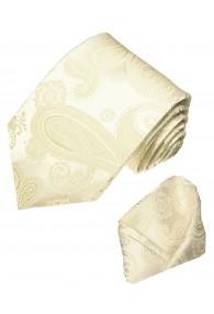 Krawattenset 100% Seide Paisley elfenbein beige LORENZO CANA