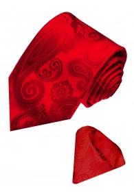 Krawattenset 100% Seide Paisley rot blutrot LORENZO CANA