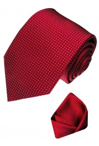 Krawattenset 100% Seide Punkte rot weiss beere LORENZO CANA