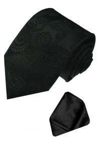 Krawattenset 100% Seide Paisley schwarz anthrazit LORENZO CANA