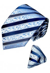 Krawattenset 100% Seide Paisley blau silber LORENZO CANA