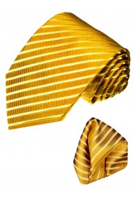 Krawattenset 100% Seide Streifen gold goldgelb LORENZO CANA