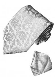 Krawattenset 100% Seide Floral silbergrau silber LORENZO CANA