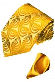 Krawattenset 100% Seide Paisley gold gelb LORENZO CANA