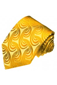 Krawatte 100% Seide Paisley gold gelb LORENZO CANA